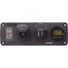 Blue Sea 4366 Water Resistant Usb Accessory Panel Circuit Breaker, 12v Socket, Dual Usb Charger, Mini Voltmeter-small image