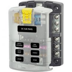 Blue Sea 5025 St Blade Fuse Block WCover 6 Circuit WNegative Bus-small image