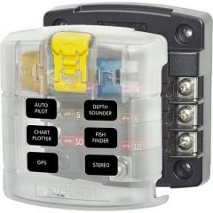 Blue Sea 5028 St Blade Fuse Block W Cover 6 Circuit Without Negative Bus-small image