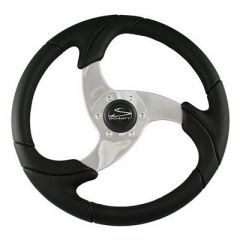 "Schmitt Folletto 14.2"" Black Poly Steering Wheel w/ Polished Spokes and Black Cap - Fits 3/4"" Tapered Shaft Helm-small image"