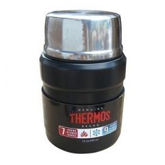 Thermos Stainless King Vacuum Insulated Food Jar WFolding Spoon 16 Oz Stainless SteelMatte Black-small image
