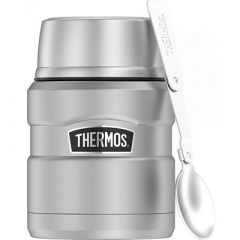 Thermos 16oz Stainless Steel Food Jar WFolding Spoon 9 Hours Hot14 Hours Cold-small image