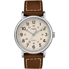 Timex Weekender 2Piece Leather Strap Watch Cream-small image