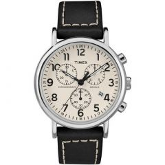 Timex MenS Weekender Chronograph 40mm Watch White DialBlack Leather Strap-small image