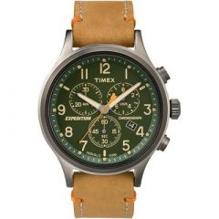 Timex Expedition Scout Chronograph Leather Watch Green Dial-small image