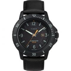 Timex Gallatin Solar Watch Leather StrapBlack Dial-small image