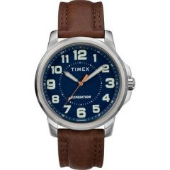 Timex MenS Expedition Metal Field Watch Blue DialBrown Strap-small image