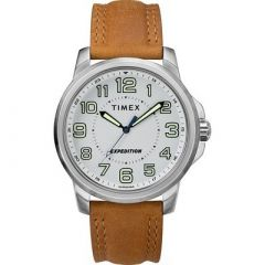 Timex MenS Expedition Metal Field Watch White DialBrown Strap-small image