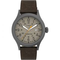 Timex Expedition Scout Khaki Dial Brown Leather Strap-small image