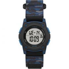 Timex KidS Digital 35mm Watch Blue Camo WFastwrap Strap-small image
