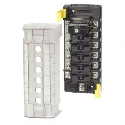 Blue Sea 5052 ST CLB Circuit Breaker Block 6 Position with Negative Bus Marine