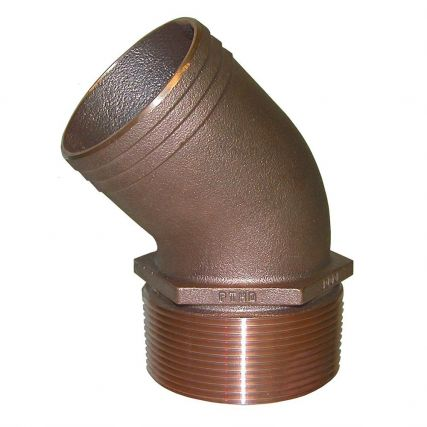 Groco Pipe to Hose Adapter Curved 3//4