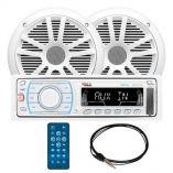 Boss Audio Mck1307w6 Marine Digital Media AmFm Receiver Pair Of 65 Mr6w Speakers Mrant10 Antenna-small image