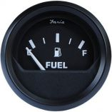 "Faria Euro Black 2"" Fuel Level Gauge (E-1/2-F) - Marine Instrument Gauges-small image"
