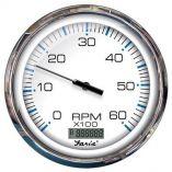 Faria 5 Tachometer WDigital Hourmeter 6000 Rpm Gas Inboard Chesapeake White WStainless Steel Bezel-small image